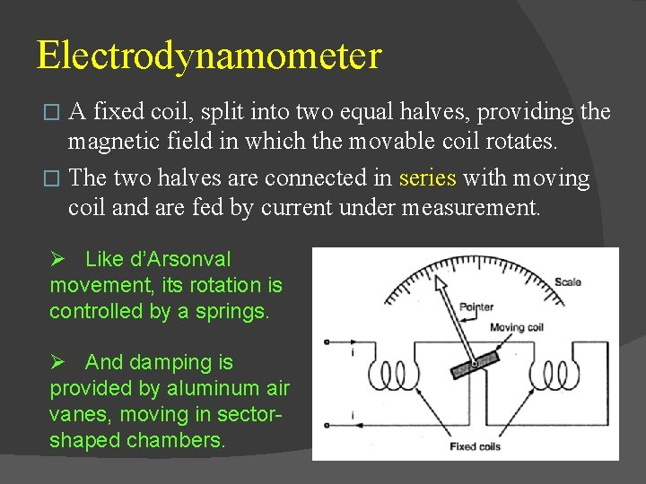 Electrodynamometer A fixed coil, split into two equal halves, providing the magnetic field in