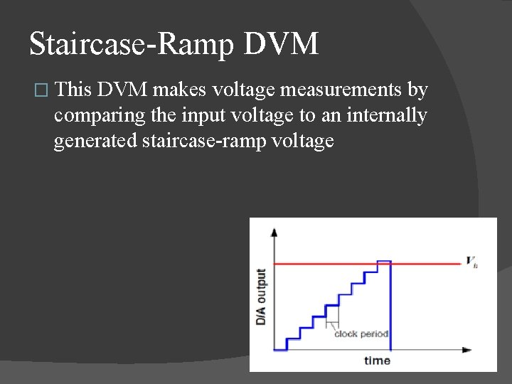Staircase Ramp DVM � This DVM makes voltage measurements by comparing the input voltage