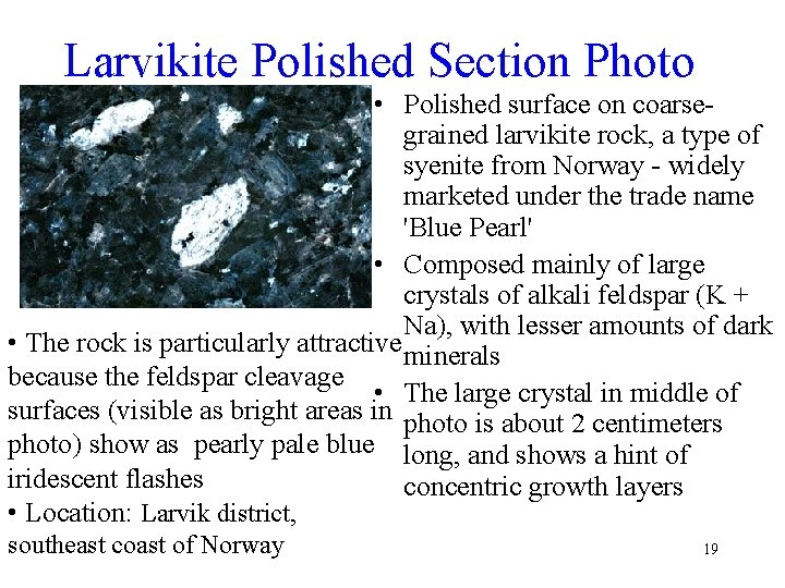 Larvikite Polished Section Photo • Polished surface on coarsegrained larvikite rock, a type of