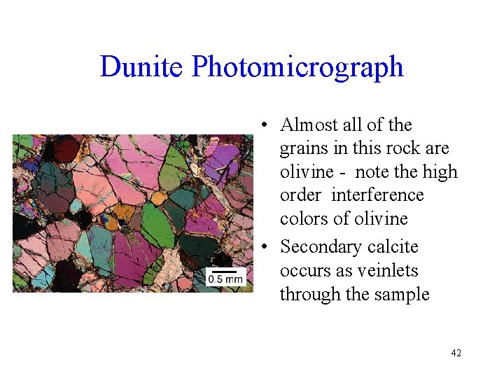 Dunite Photomicrograph • Almost all of the grains in this rock are olivine -