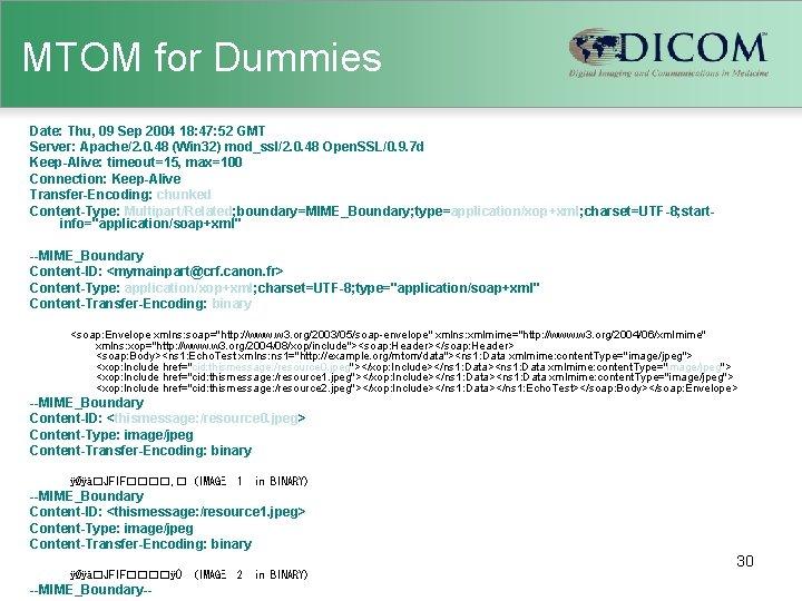 MTOM for Dummies Date: Thu, 09 Sep 2004 18: 47: 52 GMT Server: Apache/2.