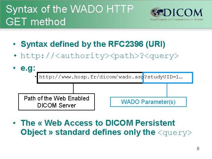 Syntax of the WADO HTTP GET method • Syntax defined by the RFC 2396