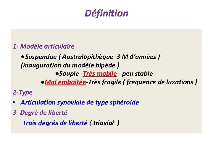 Définition 1 - Modèle articulaire ●Suspendue ( Australopithèque 3 M d'années ) (inauguration du