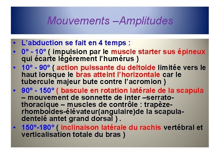 Mouvements –Amplitudes • L'abduction se fait en 4 temps : • 0° - 10°