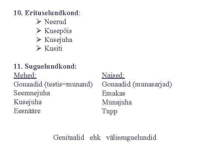 10. Erituselundkond: Ø Neerud Ø Kusepõis Ø Kusejuha Ø Kusiti 11. Suguelundkond: Mehed: Gonaadid
