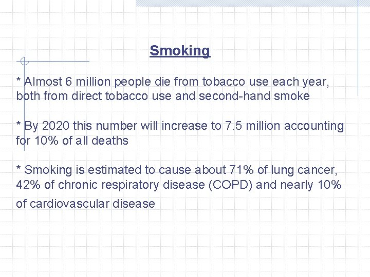 Smoking * Almost 6 million people die from tobacco use each year, both from
