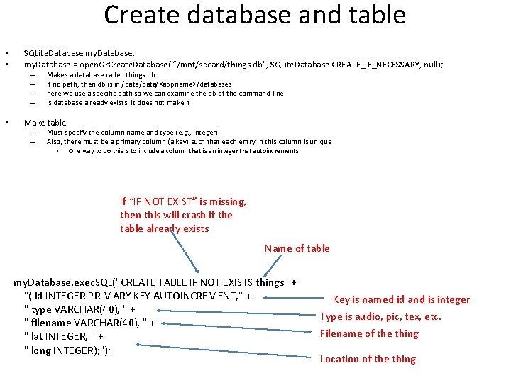 Create database and table • • SQLite. Database my. Database; my. Database = open.