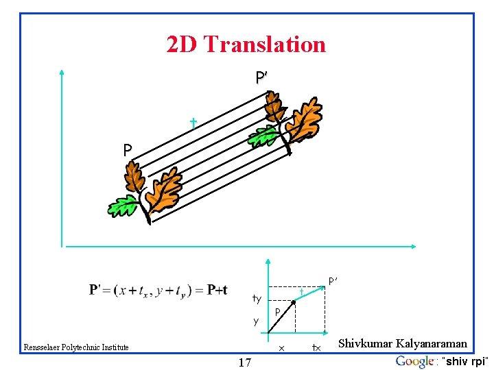 2 D Translation P' t P ty y P x Rensselaer Polytechnic Institute 17