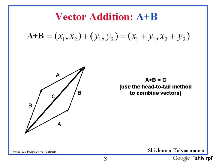 Vector Addition: A+B A A+B = C (use the head-to-tail method to combine vectors)