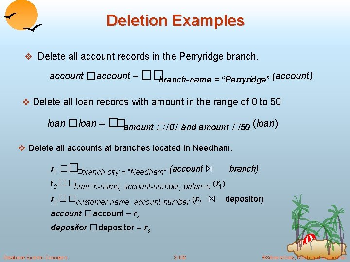 Deletion Examples v Delete all account records in the Perryridge branch. account �account –