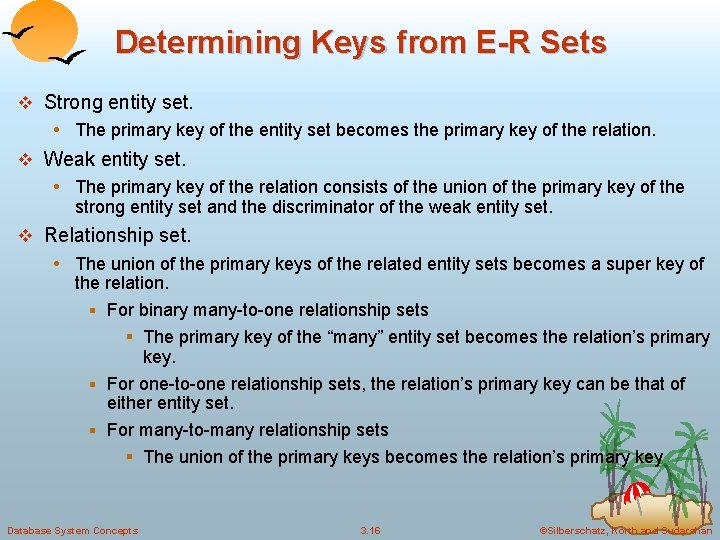 Determining Keys from E-R Sets v Strong entity set. • The primary key of
