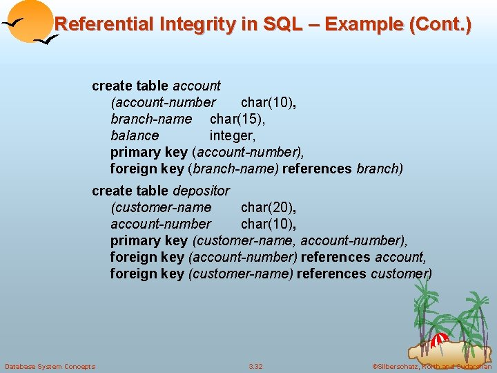 Referential Integrity in SQL – Example (Cont. ) create table account (account-number char(10), branch-name