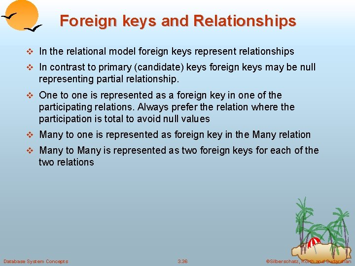 Foreign keys and Relationships v In the relational model foreign keys represent relationships v