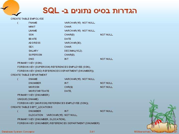 SQL - הגדרות בסיס נתונים ב CREATE TABLE EMPOLYEE ( FNAME VARCHAR(15) NOT NULL.