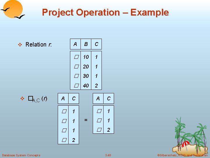 Project Operation – Example A v Relation r: v �A, C (r) Database System