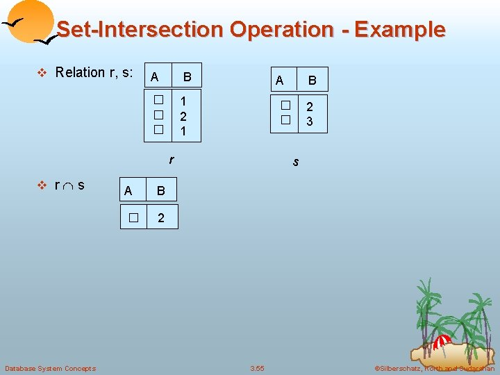 Set-Intersection Operation - Example v Relation r, s: A B � � � 1
