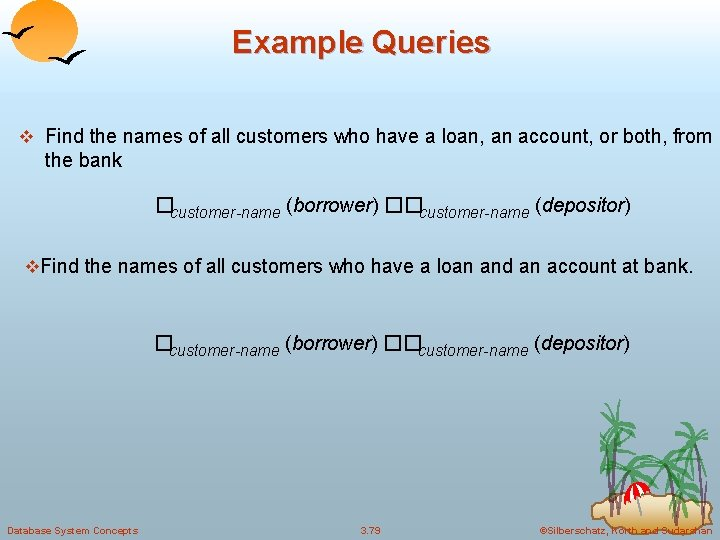 Example Queries v Find the names of all customers who have a loan, an