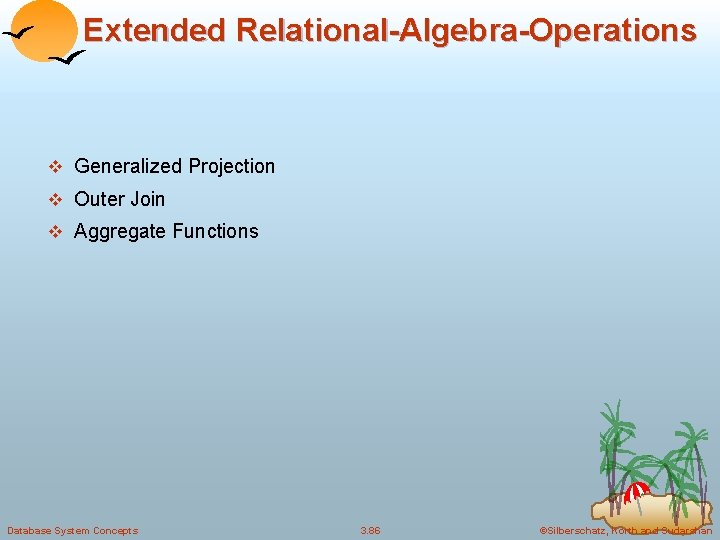 Extended Relational-Algebra-Operations v Generalized Projection v Outer Join v Aggregate Functions Database System Concepts