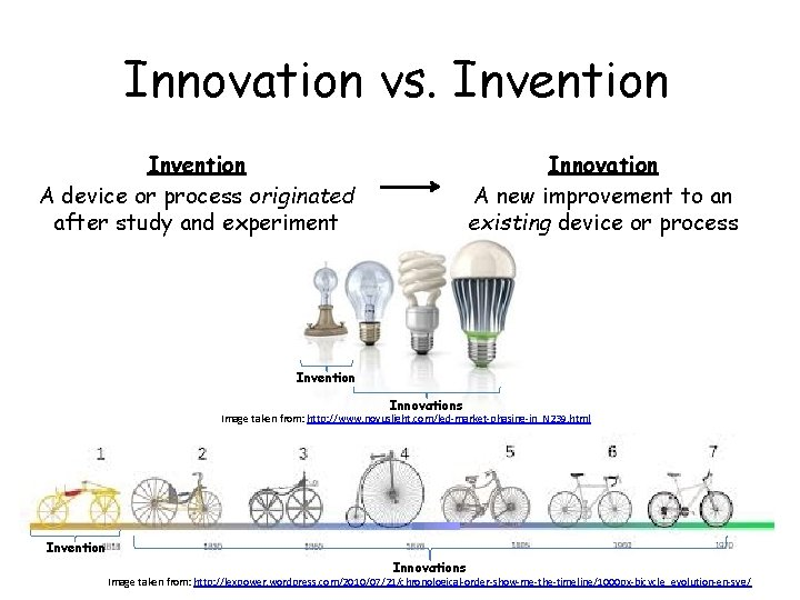 Innovation vs. Invention A device or process originated after study and experiment Innovation A