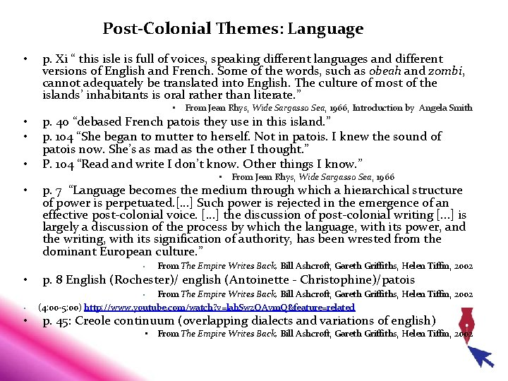 """Post-Colonial Themes: Language • p. Xi """" this isle is full of voices, speaking"""