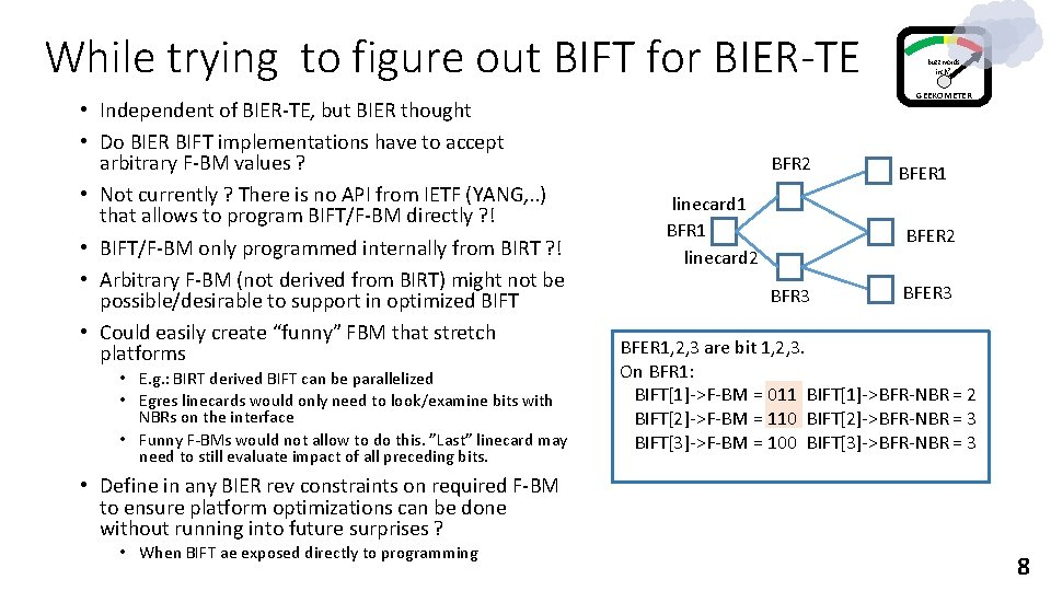 While trying to figure out BIFT for BIER-TE • Independent of BIER-TE, but BIER