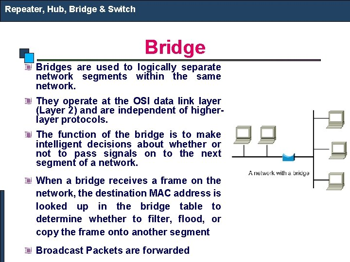 Repeater, Hub, Bridge & Switch Bridges are used to logically separate network segments within