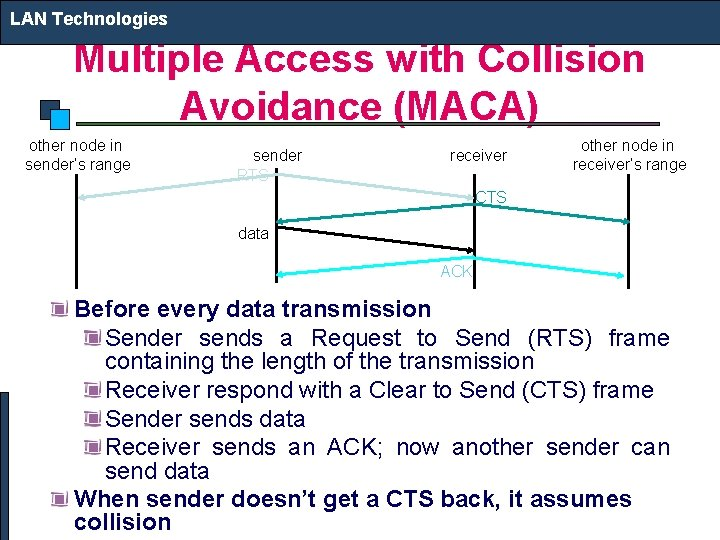 LAN Technologies Multiple Access with Collision Avoidance (MACA) other node in sender's range sender