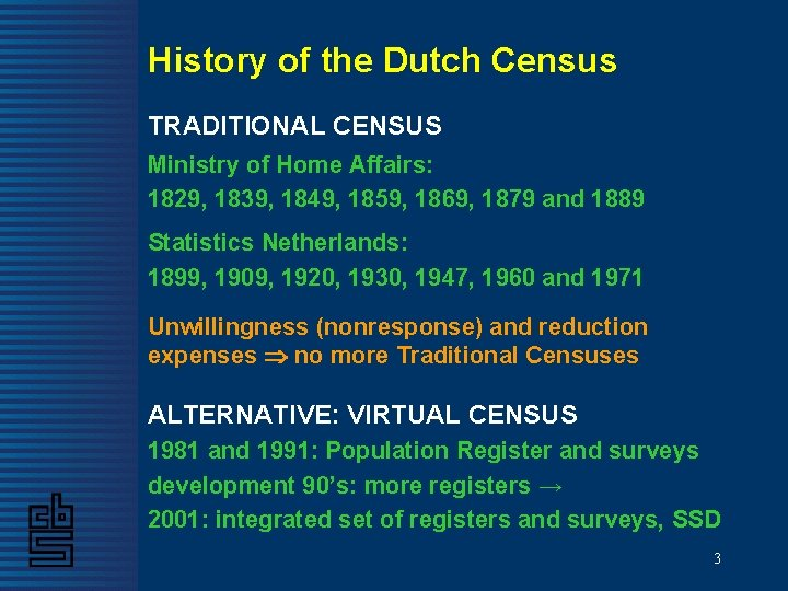 History of the Dutch Census TRADITIONAL CENSUS Ministry of Home Affairs: 1829, 1839, 1849,