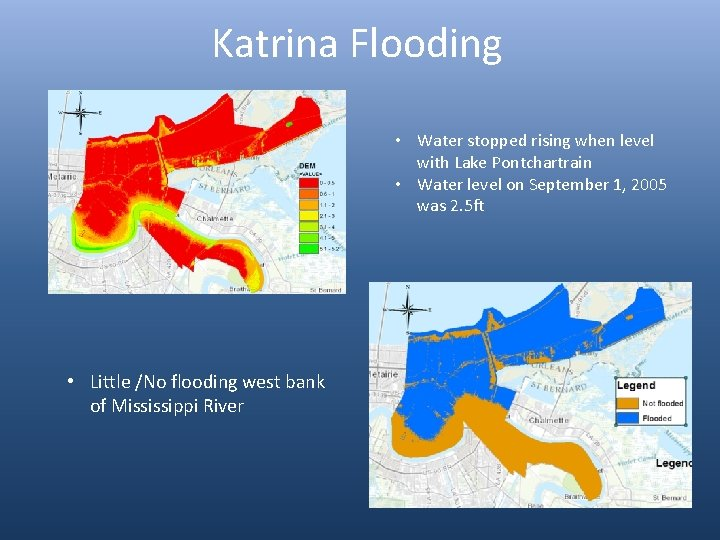Katrina Flooding • Water stopped rising when level with Lake Pontchartrain • Water level