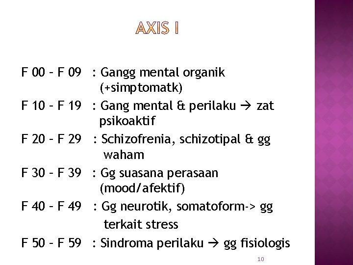 F 00 – F 09 : Gangg mental organik (+simptomatk) F 10 – F