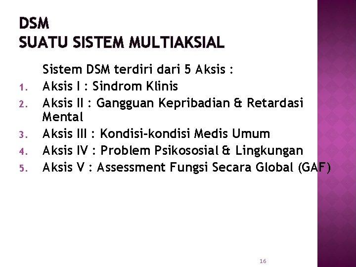 DSM SUATU SISTEM MULTIAKSIAL 1. 2. 3. 4. 5. Sistem DSM terdiri dari 5