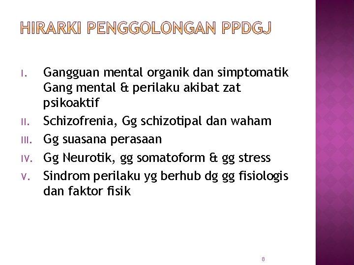 I. II. IV. V. Gangguan mental organik dan simptomatik Gang mental & perilaku akibat