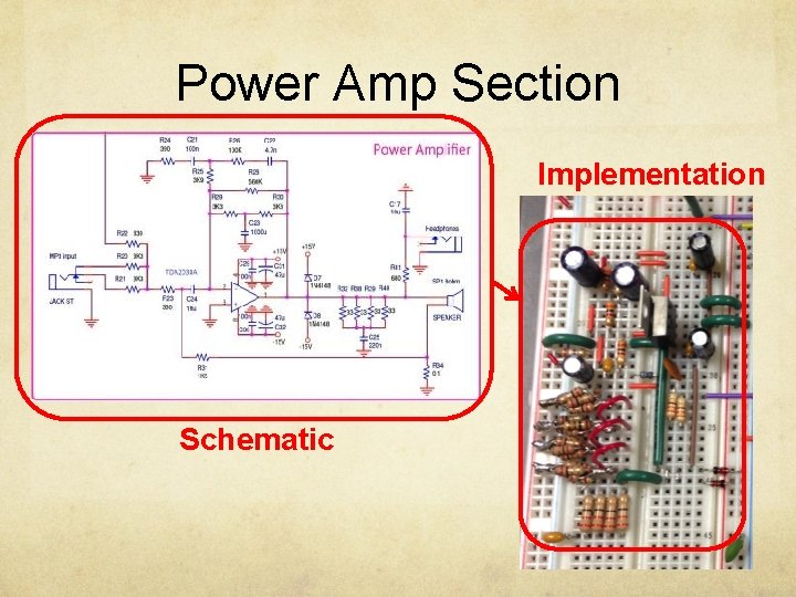 Power Amp Section Implementation Schematic