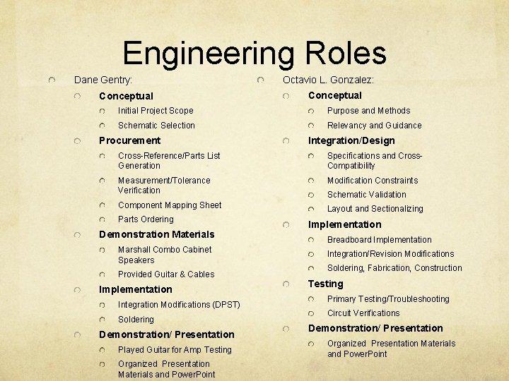 Engineering Roles Dane Gentry: Conceptual Octavio L. Gonzalez: Conceptual Initial Project Scope Purpose and