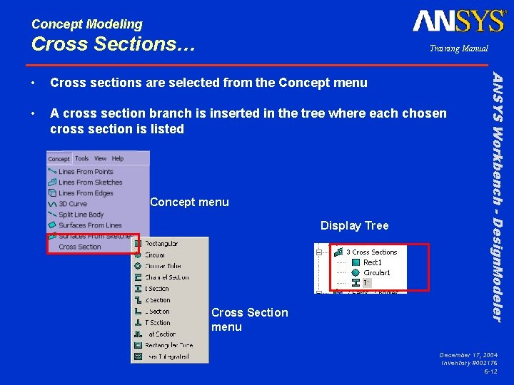 Concept Modeling Cross Sections… Training Manual Cross sections are selected from the Concept menu