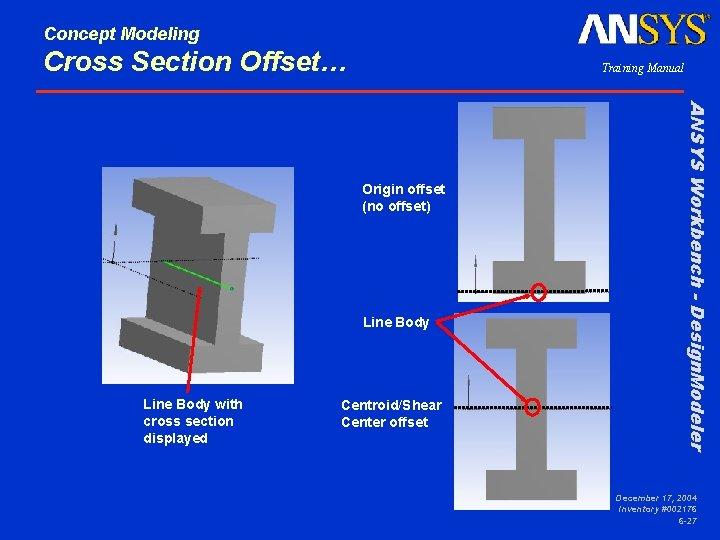 Concept Modeling Cross Section Offset… Training Manual Line Body with cross section displayed Centroid/Shear