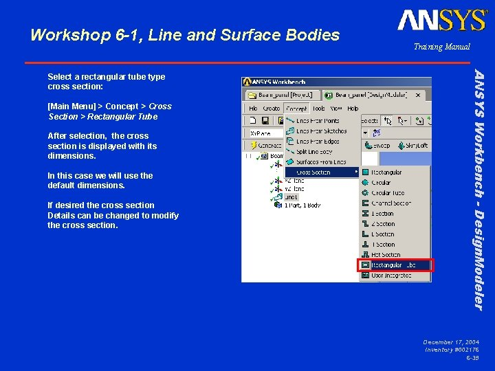 Workshop 6 -1, Line and Surface Bodies [Main Menu] > Concept > Cross Section