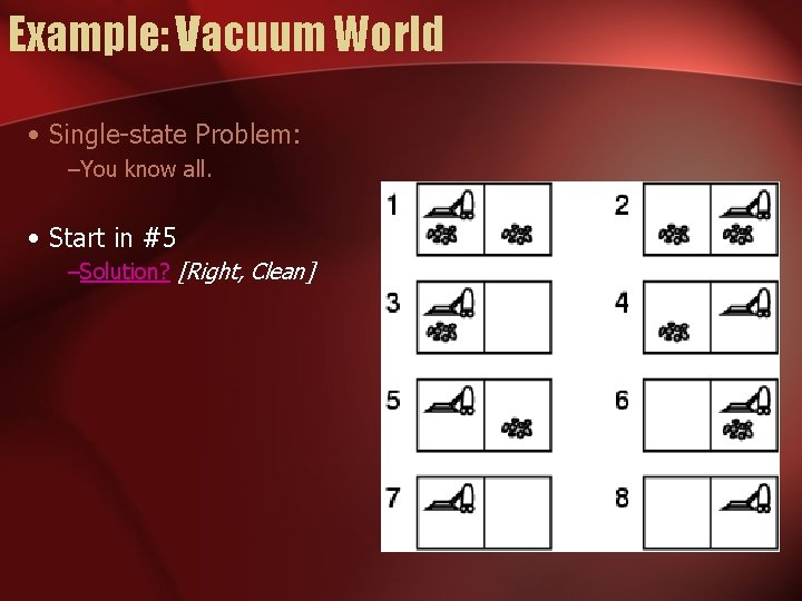 Example: Vacuum World • Single-state Problem: –You know all. • Start in #5 –Solution?