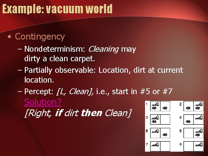 Example: vacuum world • Contingency – Nondeterminism: Cleaning may dirty a clean carpet. –
