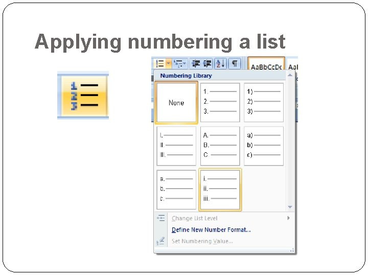 Applying numbering a list