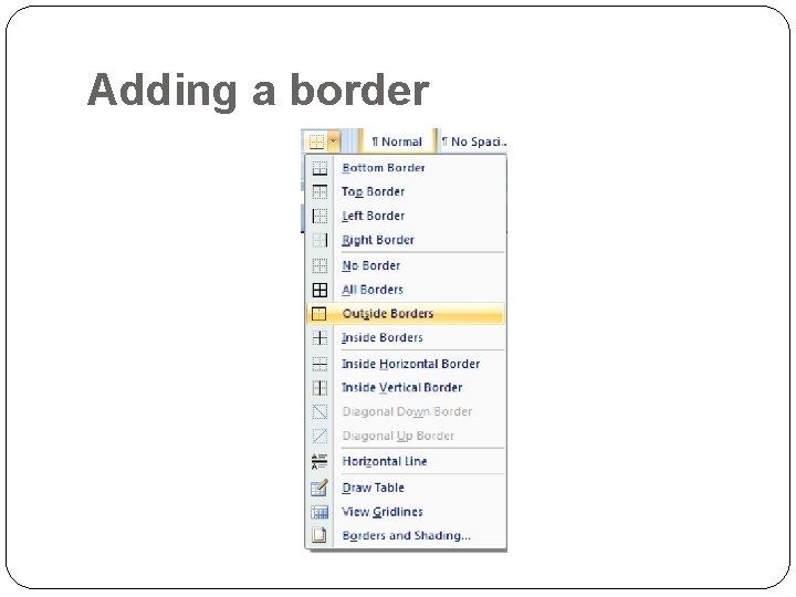 Adding a border