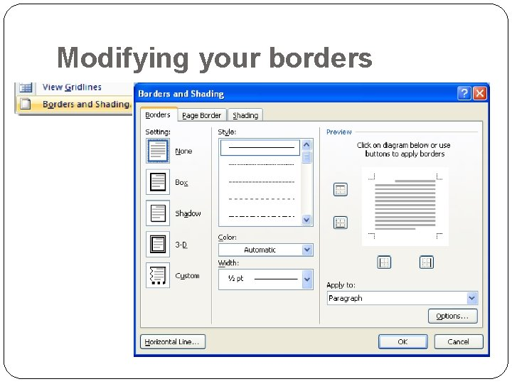 Modifying your borders