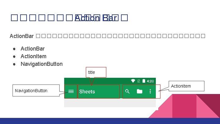������� Action Bar Action. Bar ���������������� ● Action. Bar ● Action. Item ● Navigation.