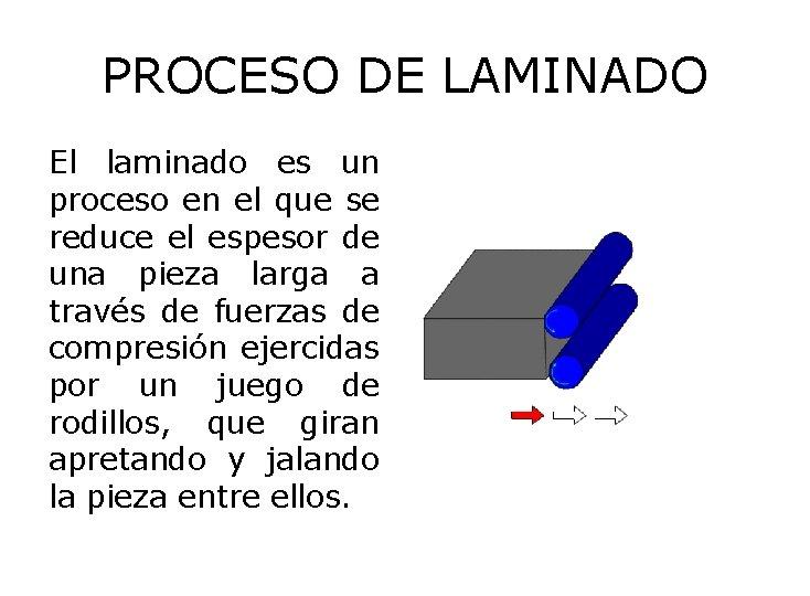 PROCESO DE LAMINADO El laminado es un proceso en el que se reduce el