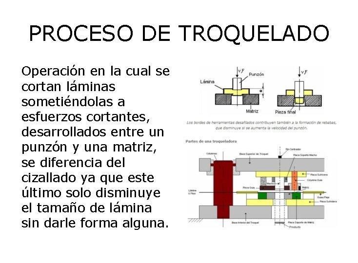 PROCESO DE TROQUELADO Operación en la cual se cortan láminas sometiéndolas a esfuerzos cortantes,