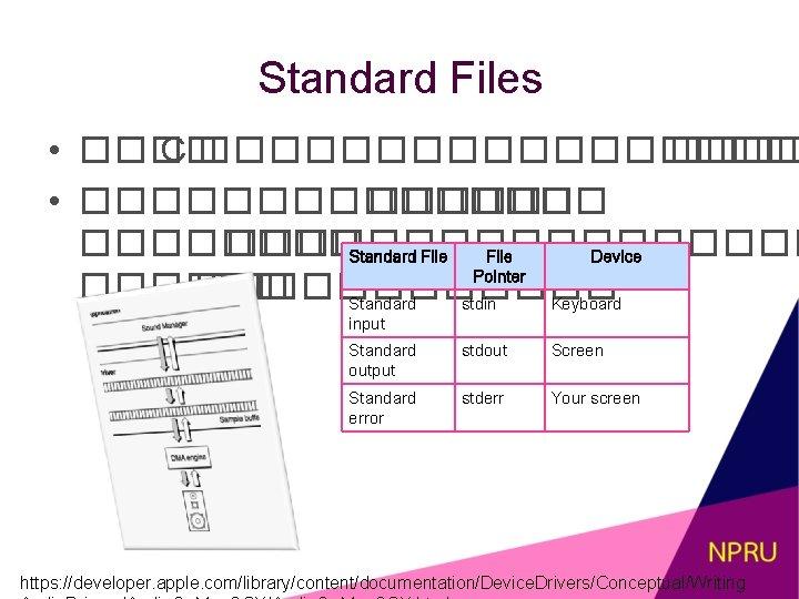 Standard Files • ���� C ��������� • ������� ������������� Standard File Device Pointer ������������