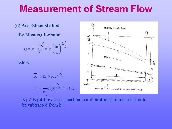 Measurement of Stream Flow (d) Area-Slope Method By Manning formula: 1 Lö 2 æ