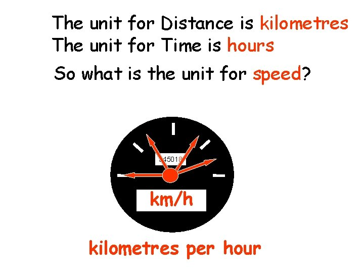 The unit for Distance is kilometres The unit for Time is hours So what