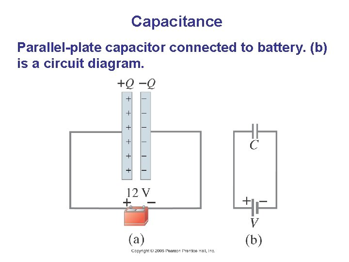 Capacitance Parallel-plate capacitor connected to battery. (b) is a circuit diagram.