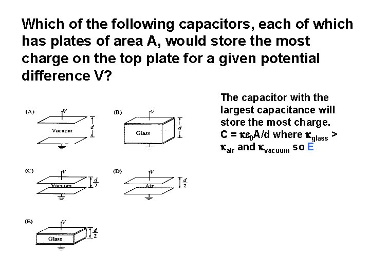 Which of the following capacitors, each of which has plates of area A, would